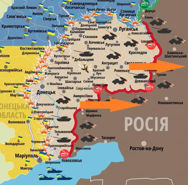 Карта зоны АТО и точки вывоза