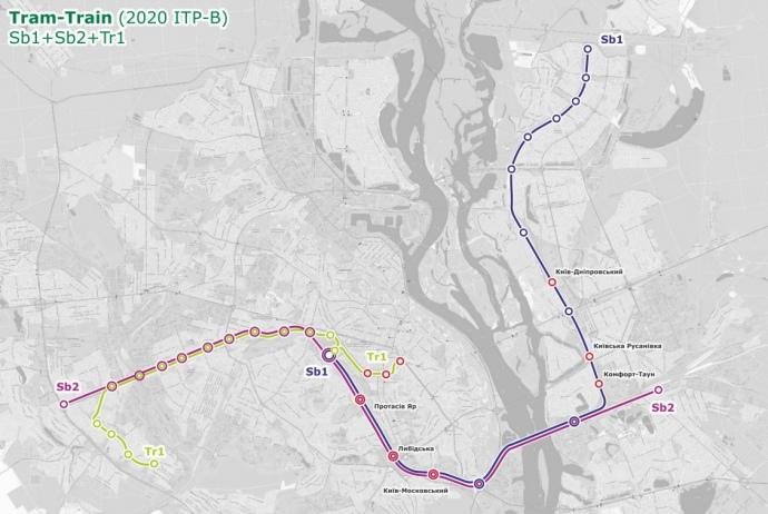 Схема трам-трейн, надана КМДА у 2017 році