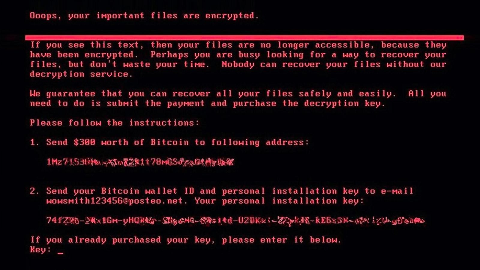 Один из вариантов страницы с требованием выкупа на компьютере, зараженном вирусом Petya
