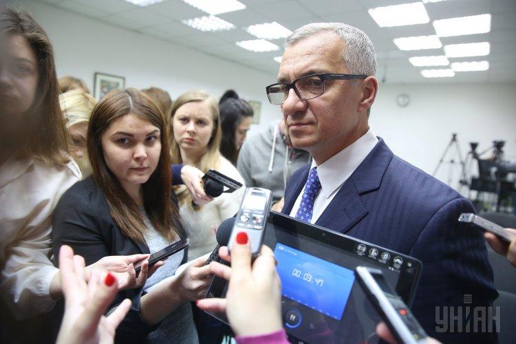 Голова правління Приватбанку Олександр Шлапак під час прес-конференції, в Києві, 2 лютого 2017 року