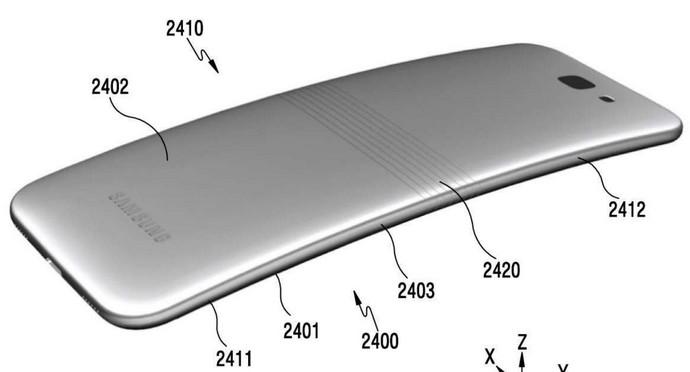 Изображение складываемого смартфона, который Samsung запатентовала в Южной Корее