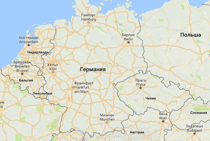 Дорожная инфраструктура Германии. Карты Google, масштаб 200 км.