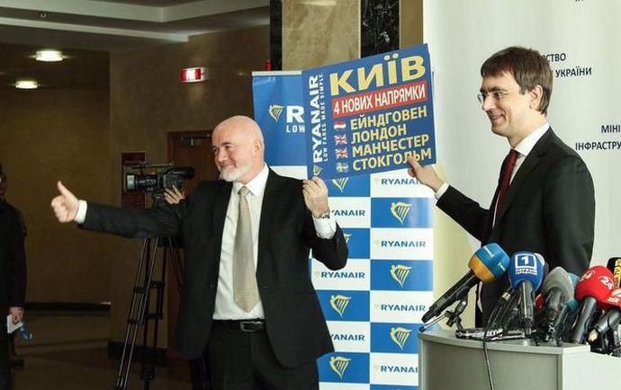 Как все начиналось: 15 марта 2017 года, Дэвид О'Брайан и Владимир Омелян открывают в Киеве новые рейсы