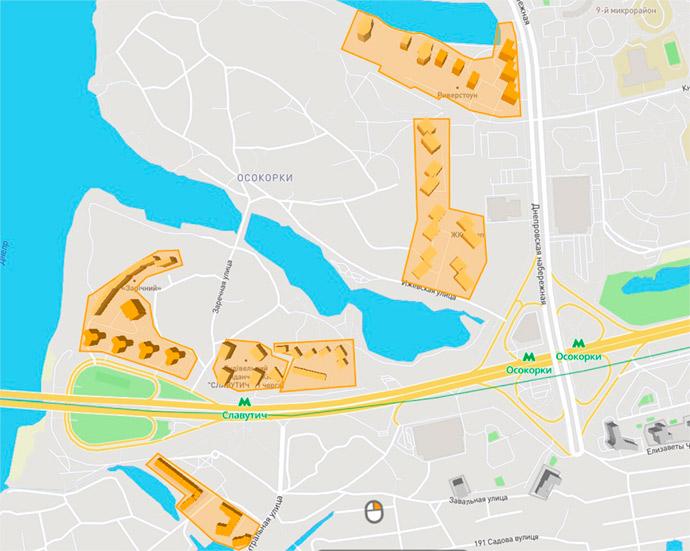 Расположение домов шести жилых комплексов на Осокорках в Киеве