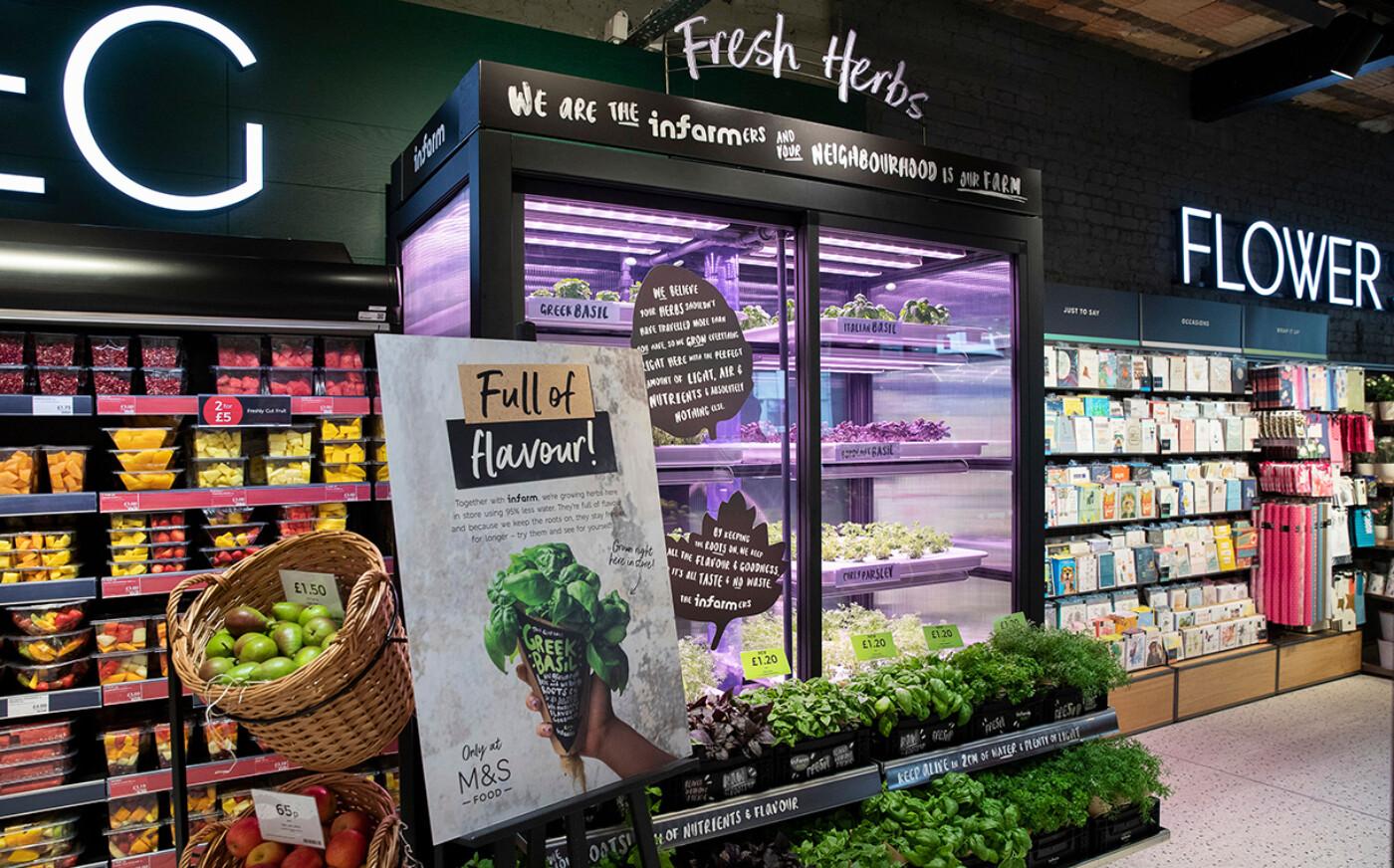Вертикальні шафи Infarm в супермаркетах